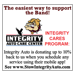 Integrity Auto is donating up to 10% back to us when you schedule any service using their mobile app! See www.StowIntegrityAuto.com